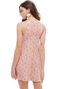 Ditsy Floral Jersey A-Line Dress - Pink - Back