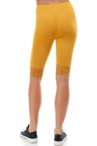 Lace Hem Biker Shorts - Mustard - Back