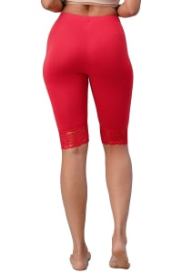 Lace Hem Biker Shorts - Red - Back