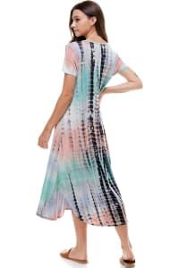 Tie Dye Easy Long Maxi Dress - Aqua / Pink - Back
