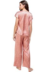 Satin Sleep Wear Dot Printed Pajama Set - Pink - Back