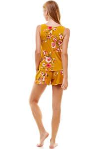 Floral Printed Sleeveless Top And Short Loungewear Set - Mustard - Back