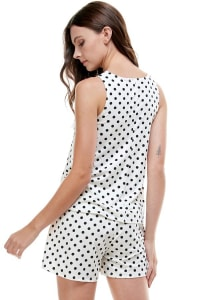 Loungewear Set Polka Dots Pajama - Ivory - Back