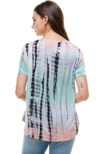 Women Tie Dye V Neck Loose Fit T Shirt Top - Back