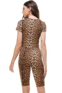Leopard Biker Short And Top Set - Leopard - Back