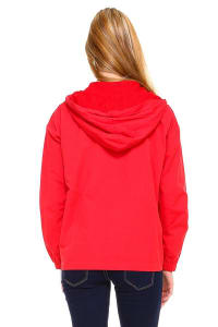 Zip Up Hooded Windbreaker Jacket - Red - Back