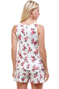Floral Printed Sleeveless Top And Short Loungewear Set - White - Back
