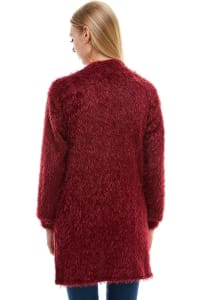 Shaggy Fur Cardigan - Burgundy - Back