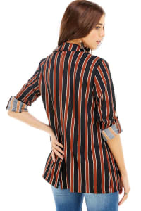 Stripe Easy Longline Blazer - Black / Brown - Back