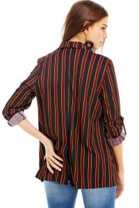 Stripe Easy Longline Blazer - Black / Burgundy - Back