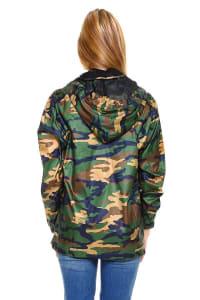 Camouflage Hooded Windbreaker Jacket - Olive - Back