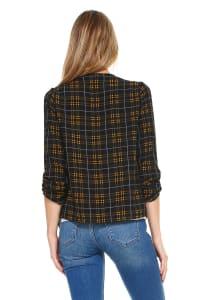 Plaid Print Drape Front Soft Blazer Jacket - Black - Back