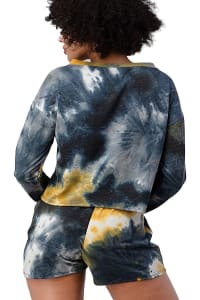 Tie Dye Shorts And Sweatshirts Set - Black / Yellow - Back