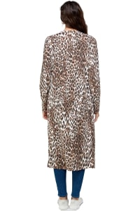 Leopard Patterned Long Duster - Brown - Back