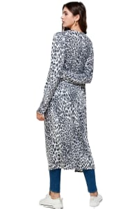 Leopard Patterned Long Duster - Grey - Back