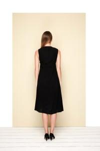 Melina  V-square Dress - Plus - Black - Back