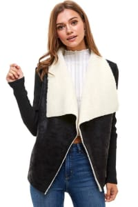 Sherpa Drape Collar Shearling Jacket - Black / Ivory - Back
