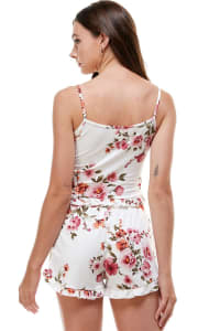 Floral Ditsy & Star Blushed Camisole Top & Short With Ruffle Lounge Set - White Floral - Back