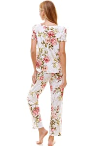 Loungewear Set For Women's Floral Short Sleeve And Pants - White - Back