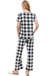 Women's Loungewear Set Checker Printed Pajama Short Sleeve And Pants Set - Black - Back