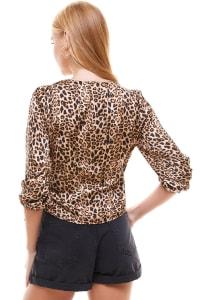 Satin Leopard Patterned Wrap Blouse - Back