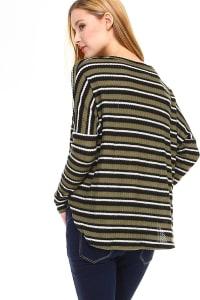 Stripe Waffle Sweater Knit Top - Back