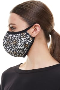 Double Layered Animal Printed Cloth Fabric Reusable Face Masks - Black / White - Back