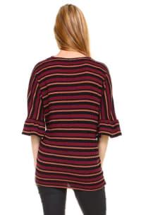 Stripe Waffle Tie Front Cardigan - Burugndy - Back