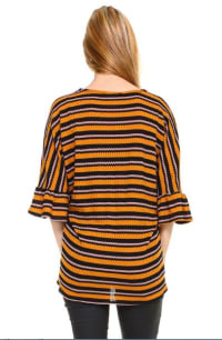 Stripe Waffle Tie Front Cardigan - Mustard - Back