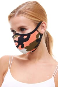 Double Layered Printed Cloth Fabric Reusable Face Masks - Coral Camo - Back