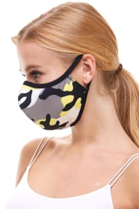 Double Layered Printed Cloth Fabric Reusable Face Masks - Yellow Camo - Back