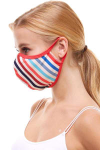 Double Layered Printed Cloth Fabric Reusable Face Masks - Multi Stripe - Back