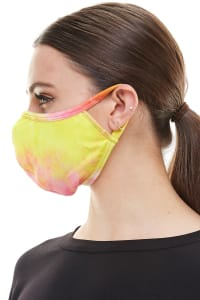 Double Layered Printed Cloth Fabric Reusable Face Masks - Pink / Yellow - Back