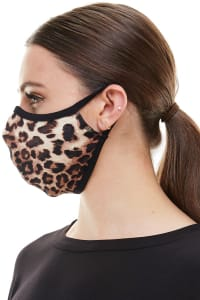 Double Layered Printed Cloth Fabric Reusable Face Masks - Leopard - Back