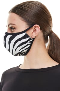 Double Layered Printed Cloth Fabric Reusable Face Masks - Zebra - Back