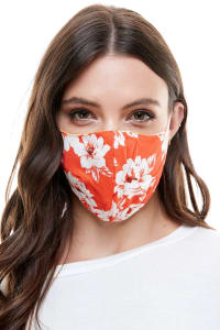 Reversible Face Mask Cloth Fabric Reusable Face Masks - Big Floral - Back