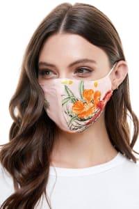 Reversible Face Mask Cloth Fabric Reusable Face Masks - Mustard / Pink Tropical - Back