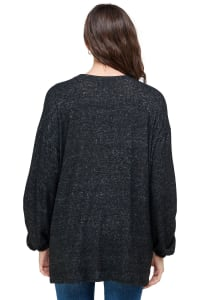Cozy Knit Loose Fit Top - Black - Back