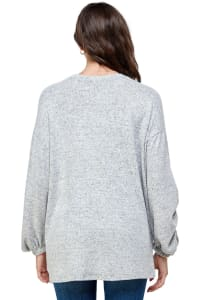 Cozy Knit Loose Fit Top - Grey - Back