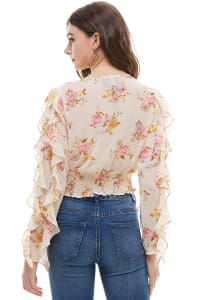 Ruffle Sleeves Floral Blouse - Ivory - Back