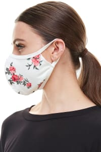 Double Layered Printed Cloth Fabric Reusable Face Masks - White Floral - Back