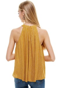 Small Pattern Tie Neck Halter Top - Mustard - Back