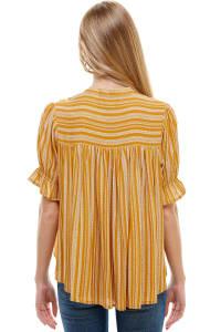 Tassle Tie Neck Puff Sleeved Top - Mustard - Back