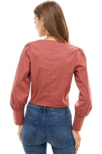 Poplin Wrap Style Long Sleeves Shirts - Back
