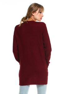 Sweater Essential Cardigan - Burgundy - Back