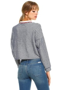 Stripe Cropped Polo Shirts - Blue / White - Back