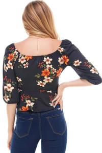 Floral Peplum Hem Knit Top - Back