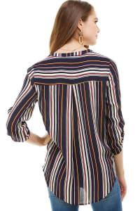 Stripe Popover Surplice Hi-Low Shirt - Back