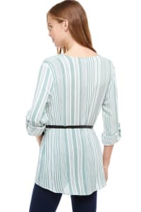 Striped Belted Shirt Tunic - Sage - Back