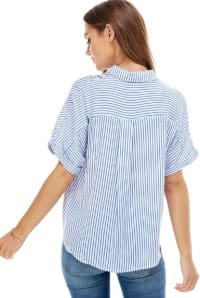 Stripes Pattern Shirt - Ivory / Blue Stripes - Back